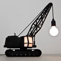 Wrecking Ball Recycled Floor Lamp: The belgian-dutch studio job has designed two new works: 'crane lamp' and 'wrecking ball lamp', two modern floor lamps design Construction Bedroom, Diy Luminaire, Unique Lamps, My New Room, Desk Lamp, Room Lamp, Table Lamp, Light Up, Night Light
