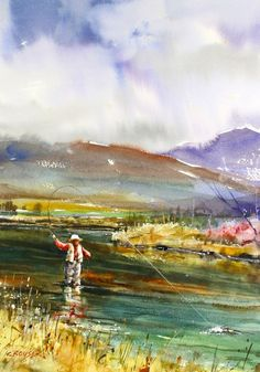 FLY FISHING Watercolor Print by Dean Crouser by DeanCrouserArt