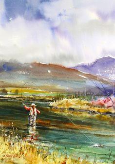 MOUCHE pêche Print aquarelle par Dean Crouser