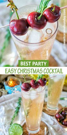Crowd pleasing easy Christmas Cocktail recipe that is perfect for the holiday season. This proscesso based cocktail is simple and filled with cheer. Ho ho ho! #christmasdrinks #christmasrecipe #christmasideas @sweetcaramelsunday