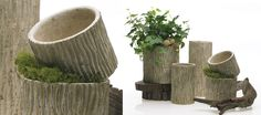 ceramic vases treated with wood grain pattern