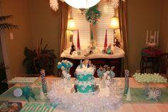 Disney Frozen cake,  party, birthday,  tablescape