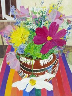 Gail Norfleet, Wildflowers in a Mexican Pot, 2013, oil on gessobord, at Valley House Gallery.