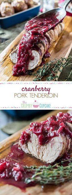 When you're finally over leftovers, transform your holiday cranberry sauce into a delicious garnish for a simple and perfectly cooked Cranberry Pork Tenderloin! #SundaySupper