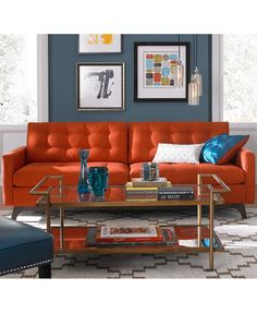 """Karlie Fabric Sofa - ended up getting this one in a custom dark blue """"midnight"""" fabric. It should arrive in 8 weeks or so!"""