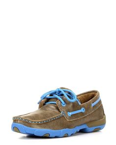 Twisted X Womens Driving Moc D Toe Bomber/Neon Blue Shoe