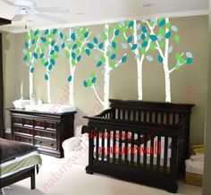 Boy Room Decal. Kids wall decals white Tree Decals  baby decal nursery decal room decor wall decor wall art birch decals-birds in Birch forest. $89.00, via Etsy.