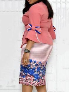V-Neck Mid-Calf Three-Quarter Sleeve Floral High Waist Dress Calf Sleeve, Detachable Collar, Floral Stripe, Quarter Sleeve, Types Of Sleeves, High Waist, Flare, Two Piece Skirt Set, Bodycon Dress