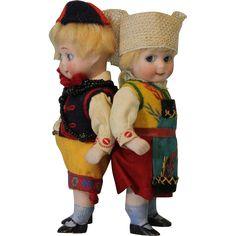 "Two 5"" German Swivel head Kestner Antique Googly Dolls 292 ALL Bisque All Orig"