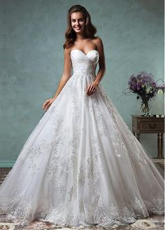 Fabulous Tulle & Satin Sweetheart Neckline A-line Wedding Dresses with Beaded Lace Appliques