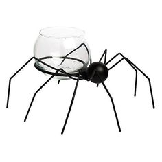 """One Kings Lane 7"""" Spider Tealight Holder Black Set of 4 Candelabras (£14) ❤ liked on Polyvore featuring home, home decor, candles & candleholders, black, decorative accessories, black home decor, halloween home decor and black candelabra"""