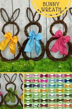 These Spring Bunny Wreaths are so adorable! Pick your own ribbon color. Original Bunny Wreath - Spring Wreath - Easter Decoration - Large or Mini Bunny Wreath #ad #spring #wreath #homedecor