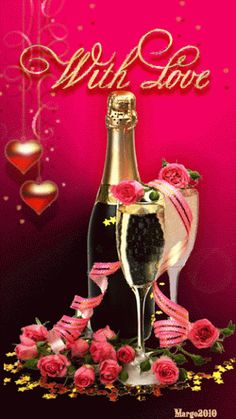 roses and champagne❤️️LOVE Happy Anniversary Wishes, Birthday Wishes, Happy Birthday, Champagne, Animation, Valentine Day Love, Love Images, Beautiful Pictures, Beautiful Roses