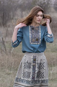 Blue blouse and taupe colored skirt with embroidery / embellishment details, by Levadnaja Details. Designer's original caption:  Блуза классической модели и юбка из льняной коллекции. Iranian Women Fashion, Russian Fashion, Ethnic Fashion, Indian Fashion, Girl Fashion, Fashion Dresses, Womens Fashion, Fashion Design Sketches, Summer Outfits Women