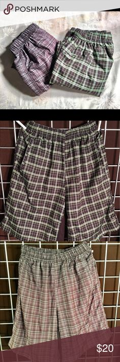"BCG bundle - plaid men's golf shorts 💥 NEW LISTING!! 💥. Two pair of plaid men's BCG shorts. One pair brown/tan plaid, second pair green/brown plaid. Silky feeling, lightweight and cool. Spandex type material around inner thighs for breathability.  Side pockets. In excellent shape. One ""m"" came off inner size description on one of the pairs but other than that no stains or rips. Not worn often - great condition. Selling together as bundle. Paid $20 each at Academy Sports Shorts Athletic"