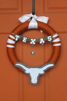Texas Longhorn Yarn Felt Football Wreath