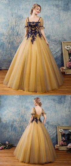A-line Square Floor-Length Tulle Appliqued Golden Prom Dresses
