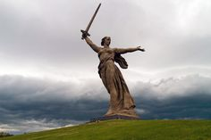Yevgeny Vuchetich & Nikolai Nikitin.    The Motherland Calls, also called Homeland-Mother, Homeland-Mother Is Calling, simply The Motherland, or The Mamayev Monument, is a statue in Mamayev Kurgan in Volgograd, Russia, commemorating the Battle of Stalingrad. When the memorial was dedicated in 1967 it was the tallest sculpture in the world, measuring 87 metres (279 feet) from the tip of its sword to the top of the plinth.