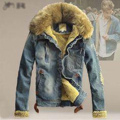 Men-Outerwear-Warm-Fur-Collar-Winter-Lining-Denim-Coat-Detachable-Hoodie-Jacket