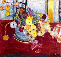 Flowers on a Red Carpet, 1928, Pierre Bonnard Size: 57x61 cm Medium: oil on canvas
