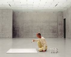 """""""In 1975, [Wolfgang Laib] created his first Milkstone in what has become an ongoing series of elemental sculptures. A rectangular block of polished white marble containing a slight depression on its upper surface, the piece is filled with a thin layer of milk to foster the illusion of a solid form."""""""