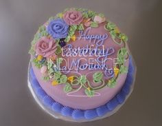 Floral birthday cake.  Ring of roses and assorted flowers in fresh spring colors.    #caketodiefor  Seward, Nebraska