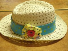 Customized Child's Straw Trilby Hat Age 4-8 Years by wonderbugs, $10.00