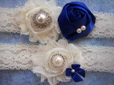 Ivory and Blue Wedding Garter, Bridal Garter, Toss Garter included. $29.00, via Etsy.