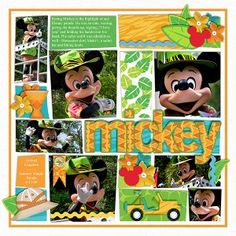 Jammin' Jungle Mickey scrapbook layout using the Jungle Parade kit and freebie template from myownlittlechair.com