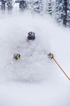 Skiing Fresh Deep Powder in Fernie, Canada.