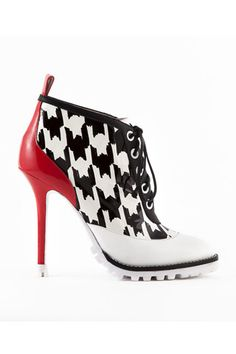 Emmy DE * Sophia Webster Black, White  Red Check Ankle Boots Fall 2014