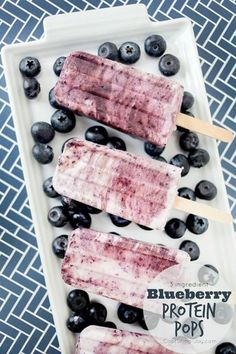 3 ingredient Blueberry Protein Pops recipe, the perfect frozen summer treat!