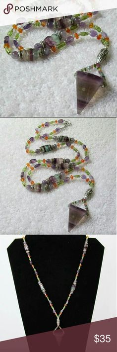 """Multi Semi~Precious Stone Necklace Beautiful  blend of colors & shapes. Fluorite cone pendant. Tiny Tourmaline stones make up bail. Carnelian spacers, Peridot tubes, Amethyst ovals, & rainbow fluorite chunks with silver tone spacers.  It's a wowzer of a one of a kind beauty.  Approx  26"""" long.   NWT, Gift boxed, Handcrafted.   Hippie Festival Gypsy Boho Unique Healing  Stone Jewelry Chakra Jewelry"""