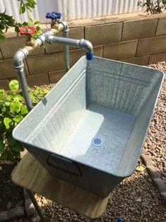 This Industrial galvanized laundry sink and faucet is just one of the custom, handmade pieces you'll find in our outdoor & gardening shops. Large Galvanized Tub, Galvanized Stock Tank, Galvanized Steel, Outside Sink, Outdoor Sinks, Outdoor Garden Sink, Outdoor Kitchen Sink, Outdoor Showers, Outdoor Furniture Sets