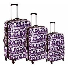 Women's Blingalicious Crown Printed Luggage CWP1070 Purple