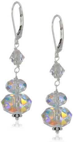 Sterling Silver Swarovski Elements Crystal Aurora Borealis Large Rondelle Drop Earrings Curated Collection