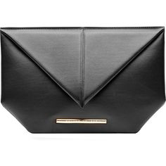 Roland Mouret Leather Envelope Clutch ($265) ❤ liked on Polyvore featuring bags, handbags, clutches, purses, roland mouret, black, leather handbag purse, genuine leather handbags, leather flap handbags and real leather purses