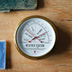 """Best Made Weather Station  Brooklyn's Best Made brand knows that we have no idea how to read a traditional home weather station. Barometric pressure means what? To help you out, they created an all-brass, German-made analog thermometer/barometer that gives you an idiot-proof yet precision readout based on how the weather """"feels."""""""