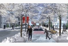 The Edmonton Freezeway curb-side ice-skating rink in Canadaa seven-mile-long skating rink proposed for the Canadian city of Edmonton could allow commuters to ice skate or toboggan to work and school during winter months Bike Path, Winter Magic, Months In A Year, Winter Months, Pedestrian, Urban Planning, Sustainable Design, Ice Skating, Public Skating