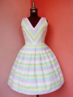 Pastel Stripes Canvas Dress by PAIISSARABRAND on Etsy