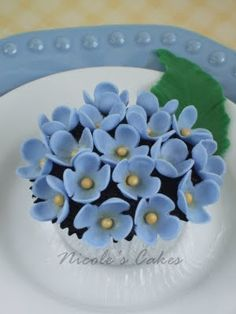 Blue Hydrangea Cupcake