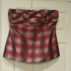 Metallic Plaid Tube Top Red and silver ruffled tube top. Perfect under blazer or wear alone. Excellent condition The Limited Tops Blouses
