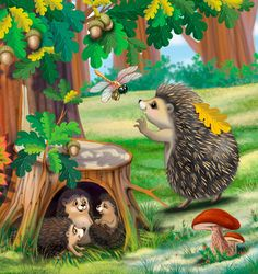 Fantasy Paintings, Animal Paintings, Animal Drawings, Baby Zoo Animals, Spring Animals, Hedgehog Art, Cute Hedgehog, Art Drawings For Kids, Drawing For Kids