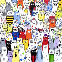 A gallery of cats. Look closely, each cat is different, something unique about their decoration, an object or dress item, their expression, face or coloring.