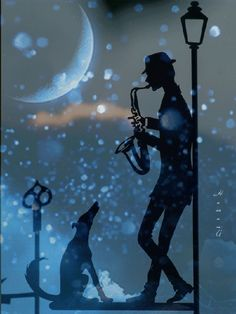 jazz in the night Music Pics, Music Artwork, Happy Weekend Images, Good Night Gif, Jazz Art, Beautiful Gif, Silhouette Art, Art Images, Animated Gif