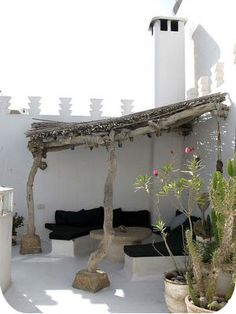rustic wood pergola seating area on a rooftop, possibly somewhere in Morocco, maybe Mexico. wherever it is, it's earthy and boho and beautiful Outdoor Rooms, Outdoor Gardens, Outdoor Living, Outdoor Decor, Rustic Outdoor, Rustic Wood, Outdoor Bedroom, Outdoor Balcony, Outdoor Retreat