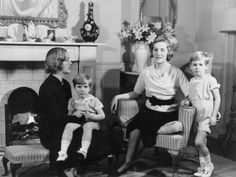 Unity (on the left) and Diana Mitford in 1935 with Diana's two sons from her first marriage to Bryan Guinness.