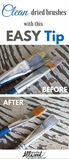 to clean paint brushes with dried paint I have one simple household solution to cleaning and saving your paint brushes! More Painting tips at I have one simple household solution to cleaning and saving your paint brushes! More Painting tips at Deep Cleaning Tips, House Cleaning Tips, Spring Cleaning, Cleaning Hacks, Diy Hacks, Cleaning Paint Brushes, Cleaning Sponges, Decoupage, Decoration Entree