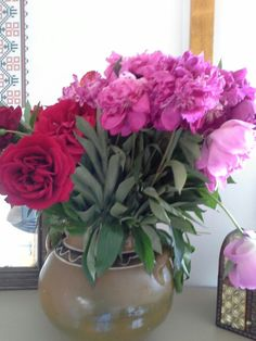 Peonies and roses in Transylvanian clay pottery
