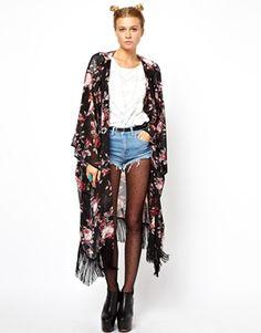 ASOS Reclaimed Vintage Dark Floral Kimono